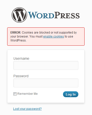 "Can't log into WordPress ""Cookies are blocked"""